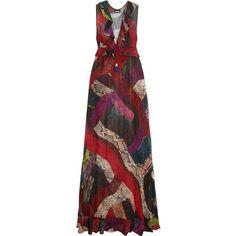 JUST CAVALLI Ruffled snake-print chiffon maxi dress ($564) ❤ liked on  Polyvore