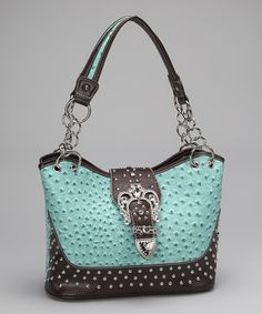 Take a look at this Turquoise Buckle Studded Shoulder Bag by Rhinestone Junkie on #zulily today!