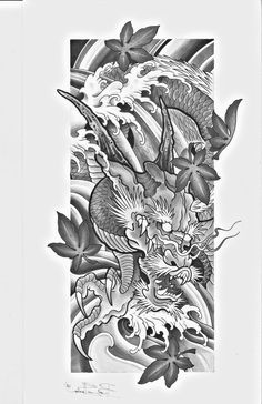 TATTOO 2017 Dragon Tatoo, Dragon Tattoo Outline, Koi Dragon, Dragon Tattoo Designs, Japanese Dragon Tattoos, Japanese Tattoo Art, Japanese Tattoo Designs, Japanese Sleeve Tattoos, Sketch Tattoo Design