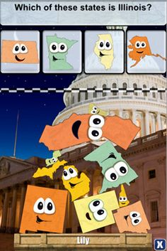 fun geography game for kids - learn all facts about US states and play stacking games at the same time #kidsapps