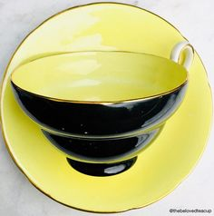 Bright yellow and black Old Royal antique tea cup and saucer in great condition, no chips or cracks and the paint still looks good. ~~~~~~~~~~~~~~~~~~~~~~~~~~~~~~~~~~~~~~~~~~~~~~~~~ **Please note that the antiques we sell are not brand new. We try our best to accurately describe