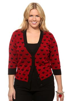 Retro Chic By Torrid - Red With Black Hearts Cardigan