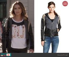 Emily's colorblock leather hoodie on Pretty Little Liars.  Outfit Details: http://wornontv.net/44759/ #PLL