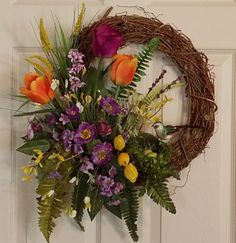 how to make a tulip wreath | Spring Tulip Grapevine Wreath with Bird Nest, Mothers Day, Holidays ...