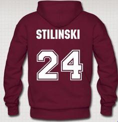 Maroon Hoodie Sweatshirt, #24, Stiles Stilinski; Teen Wolf.