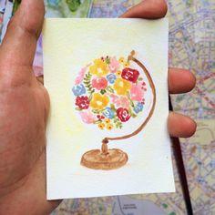 Handpainted Flower Globe | Watercolor Flower Globe | Mini Watercolor Floral Map | Tiny Flower Print -BrushandThreadsShop-
