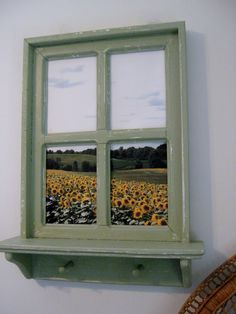 """Shabby Chic Faux Window Frame, photo taken in Up State NY,  20"""" x 26"""" with a 4"""" shelf, 2 sawtooth hangers on back ready to hang.  Have a favorite vacation or pet photo you'd like in one of our frames,   e-mail it to me."""