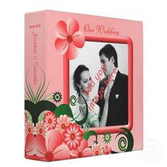 This formal wedding photo album 3 ring binder features an illustration of a pink swirly hibiscus floral decoration and a pink shiny *photo frame. Personalize it by adding your own photo and details. *Please note that the sample photo shown here is for illustration purposes only and must be replaced with your own image prior to purchasing.     These collections also come in various other colors.