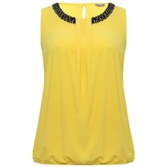 M&Co Plus Embellished Neck Top ($30) ❤ liked on Polyvore featuring tops, shirts, blusas, plus size, yellow, yellow shirt, shirts & tops, womens plus size shirts, plus size tops and plus size sleeveless shirts