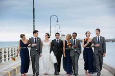 bridesmaids in navy groomsmen in charcoal - Google Search