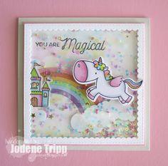Birdie Brown Magical Unicorns stamp set and Die-namics, Stitched Mini Scallop Square STAX and Rainbow Die-namics - Jolene Tripp Unicorn Birthday Cards, Kids Birthday Cards, Unicorn Cards, Baby Cards, Kids Cards, Tarjetas Diy, Rainbow Card, Card Tricks, Marianne Design