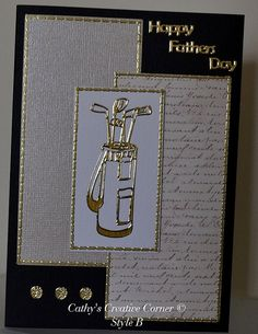 Dont forget ........... Fathers Day in Australia, is on 4th September.  Handmade greeting card - specially for the one who loves Golf.  FREE POSTAGE for a single card within Australia.  3D handcut and layered card available - as pictured  Inside is blank, ready for your own sentiment.  Each card measures 15 cm x 10.5 cm and comes with a white envelope.  Cards are stamped Handmade by CrafteeCC on back.  Photos show cards currently made up and available for immediate sale.  Please indicate…