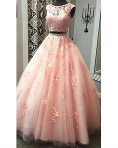 Appliques Tulle Two Piece Pink Prom Dress, Elegant Beaded Long Prom Dresses, Long Evening Dress Dama Dresses, Elegant Prom Dresses, Quince Dresses, Pink Prom Dresses, Cheap Prom Dresses, Quinceanera Dresses, 15 Dresses, Pretty Dresses, Beautiful Dresses
