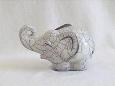 sculpture raku éléphant animal original animal céramique grès  artisanal fait main Danièle Meyer