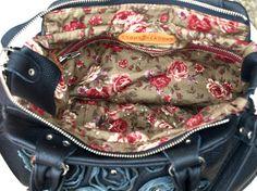 Black Leather Purse Black Vintage Roses Bag Cross by EightSeasons, $249.00