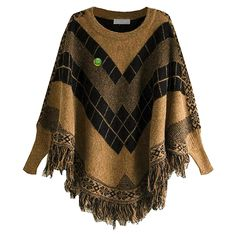 Women Poncho Cape Pullover Sweater Loose Fit Tassel Brown