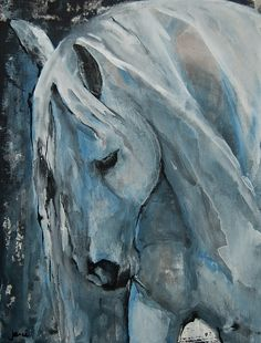 Gorgeous horse in watercolor and ink on acrylic background.