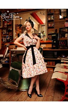 Pinup Couture Collette Button Down Dress in Squirrel Print Sateen with a Black Sateen Sash Belt
