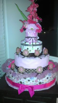 Diaper cake....inspired by a $200.00 idea, made for under $50.00