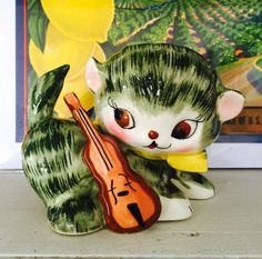 Vintage Napco Anthropomorphic Kitten with a Violin by BobsGoodJunk