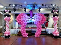 See this image on Balloons and Party Decorations: Minnie Mouse Balloon Sculpture Archway with Minnie Balloon Columns by BalloonsNparty.com
