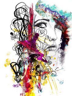 Yossi kotler art-aucun contrôle, portrait. giclée embellie