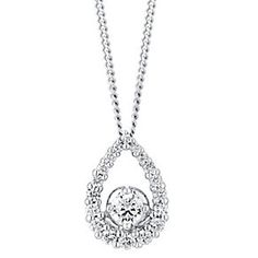 18ct white gold 33pt pear cut halo set diamond pendant - Product number 2939215