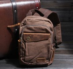 Handmade Leather Canvas Backpack Canvas Backpacks by KakaStore, $39.90