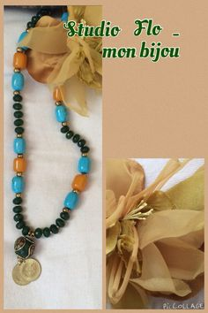 Long all beaded tibetan inspired necklace in jewels tone .  The jade green mixed with turquoise is a rich combination of passion for life... A must have necklace for Spring 2015 . Facebook.com/studioflomonbijou