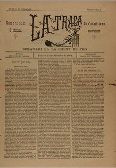 La Traca : semanari pa la gent de tró.  València, 15 noviembre 1884. Disparo num. 1