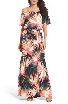 Tropical prints make this off the shoulder maxi a must-have