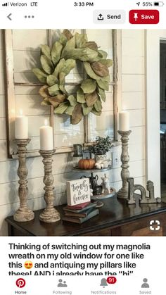 """Thinking of switching out my magnolia wreath on my old window for one like this 😍 and antiquing my pillars like these! AND i already have the """"hi"""" metal sign! With plenty of small succulent plants in stone pots! Country Decor, Rustic Decor, Diy Home Decor, Room Decor, Magnolia Wreath, Magnolia Leaves, My New Room, Home Living Room, Entryway Decor"""