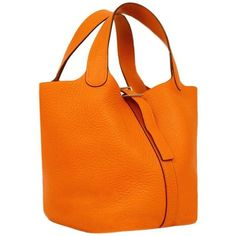 Preowned Hermes Orange Clemence Leather Picotin Mini Handbag ($1,530) ❤ liked on Polyvore featuring bags, handbags, orange, mini leather handbags, mini purse, orange leather handbag, orange handbags and handbags & purses
