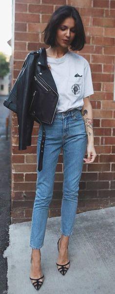 cute+street+style+/+moto+jacket+++tee+++jeans+++heels
