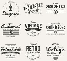 Find tips and tricks, amazing ideas for Vintage logos. Discover and try out new things about Vintage logos site Vintage Fonts, Vintage Logo Design, Vintage Labels, Retro Vintage, Logo Vintage, Retro Font, Retro Logos, Etiquette Vintage, Retro Stil