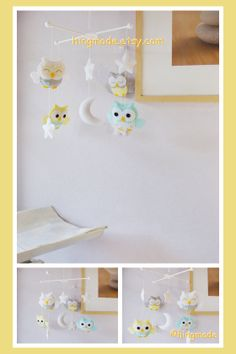 Baby Mobile - Owl Mobile - Nursery Mobile - Baby Shower Decor - Turquoise Gray White Yellow Soft theme (You can Choose your colors)