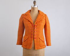 Vintage 60s 70s Yellow & Orange Houndstooth Tweed Blazer