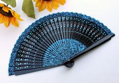 Your place to buy and sell all things handmade Painted Fan, Hand Painted, Carved Wood, Wood Carving, Hand Fan, Really Cool Stuff, Printing On Fabric, Language, Colorful