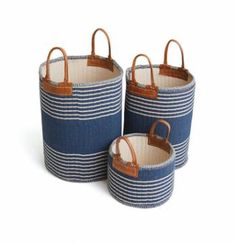 Large Linen and Cotton Blue and White Striped Basket with 4-6.5