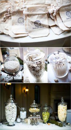Cake table decor Bud vases and votives