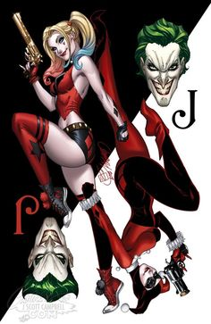 Harley Quinn: Year of the Villain variant cover - Joker by J. Scott Campbell, colours by Sabine Rich * Harley Quinn Comic, Joker And Harley Quinn, Robin Starfire, Bd Comics, Comics Girls, Harley Quinn Drawing, Harely Quinn, J Scott Campbell, Gotham Girls