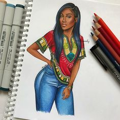 🧡💛💚💙Colorful Drawing by Natalia Madej Black Love Art, Black Girl Art, Black Girls Rock, Art Girl, Girl Drawing Sketches, Cute Drawings, Black Girl Cartoon, Black Art Pictures, Art Africain