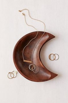 Shop Crescent Moon Catch-All Dish at Urban Outfitters today. We carry all the latest styles, colors and brands for you to choose from right here. Jewelry Stand, Jewelry Holder, Jewelry Shop, Jewelry Dish, Unique Jewelry, Urban Outfitters, Shower Accessories, Earring Cards, Jewellery Storage