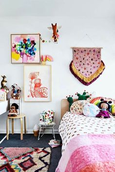 love the colors in this Bohemian kids' room After stumbling upon a mid-century home they couldn't resist, illustrator and designer Letitia Green and her husband have created a colourful and eclectic home in Beaumaris, Victoria. Casa Kids, Bohemian Kids, Deco Kids, Ideas Hogar, Little Girl Rooms, Room Girls, Child Room, Girls Bedroom Colors, Daughters Room