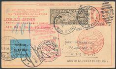 Germany, German Empire, Flugpost 21.09.1933, Schleuderflug vom Dampfer Bremen nach Southampton, weitergeleitet nach Wien, USA 15 C. auf 3 C.-GA-Postkarte (Mi.-Nr.USA 301). Price Estimate (8/2016): 30 EUR. Unsold.