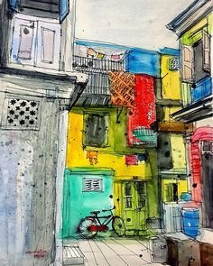 Urban Sketchers: India. This is a typical narrow street in the city. I tried to catch the atmosphere here: narrow street, vivid colors of the walls, hanging saris. Wherever you start looking at the sketch your eyes will end on that red gent's bicycle.: