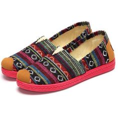 Stripe Colorful Slip On Flat Loafers For Women - US$16.49