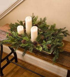 A lovely combination of pine, cedar and yew is studded with magnolia leaves, green berries and real pine cones. The lush mix of greens offers great texture and style. Country Christmas Decorations, Christmas Greenery, Christmas Arrangements, Farmhouse Christmas Decor, Christmas Centerpieces, Rustic Christmas, Xmas Decorations, Christmas Home, Christmas Holidays
