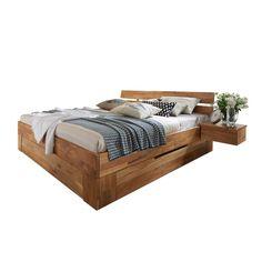 5dd4286147 Bett Cranos aus Wildeiche Massivholz mit Bettkasten Stauraum, Wildeiche  Massiv, Bett Massivholz, Bett