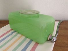 Items similar to Very Rare and unusual Jadeite Refrigerator Water Dispenser on Etsy Antique Dishes, Antique Glassware, Vintage Dishes, Vintage Pyrex, Vintage China, Rare Antique, Kitsch, Vintage Kitchenware, Water Dispenser